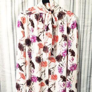 Halogen Floral Tie Neck Bright Long Sleeve Top XL